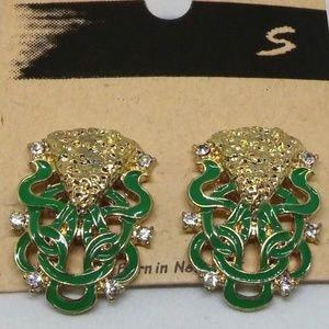 Stud Earrings FashionJewelry Gold-Plate Green 1084
